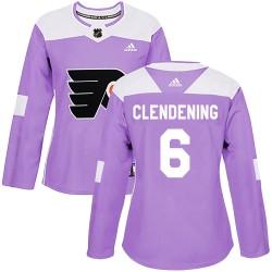 Adam Clendening Philadelphia Flyers Women's Adidas Authentic Purple Fights Cancer Practice Jersey