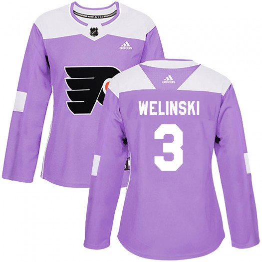Andy Welinski Philadelphia Flyers Women's Adidas Authentic Purple ized Fights Cancer Practice Jersey