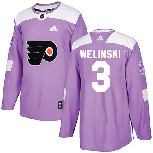 Andy Welinski Philadelphia Flyers Youth Adidas Authentic Purple ized Fights Cancer Practice Jersey