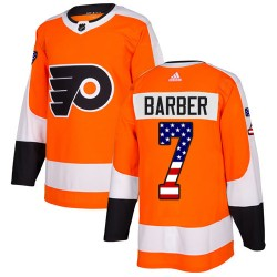 Bill Barber Philadelphia Flyers Men's Adidas Authentic Orange USA Flag Fashion Jersey