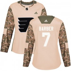 Bill Barber Philadelphia Flyers Women's Adidas Authentic Camo Veterans Day Practice Jersey