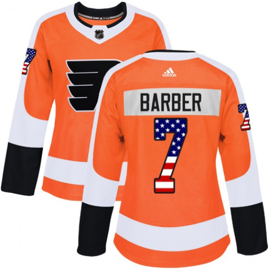 Bill Barber Philadelphia Flyers Women's Adidas Authentic Orange USA Flag Fashion Jersey