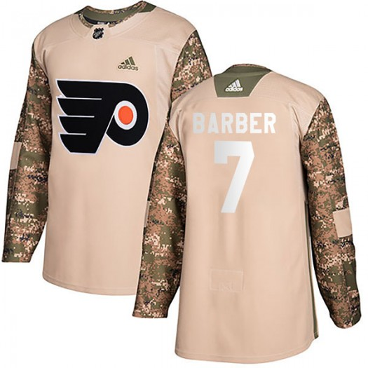 Bill Barber Philadelphia Flyers Youth Adidas Authentic Camo Veterans Day Practice Jersey