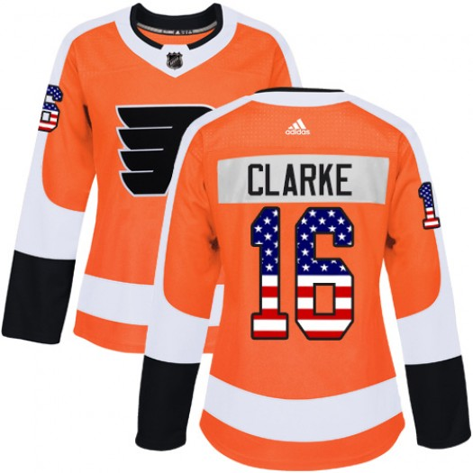 Bobby Clarke Philadelphia Flyers Women's Adidas Authentic Orange USA Flag Fashion Jersey