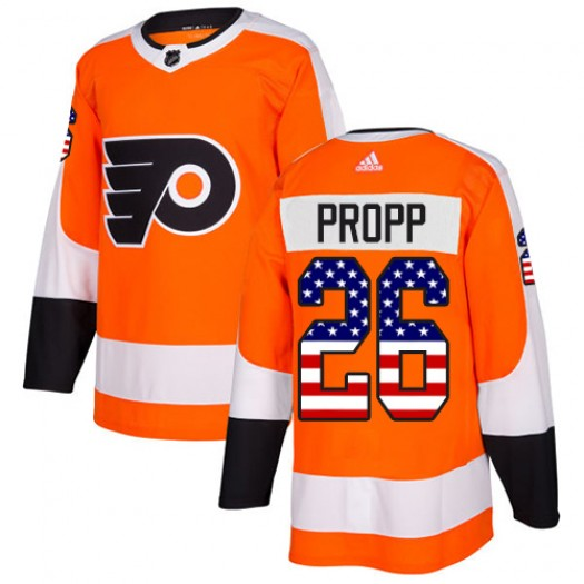 Brian Propp Philadelphia Flyers Men's Adidas Authentic Orange USA Flag Fashion Jersey