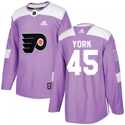 Cam York Philadelphia Flyers Men's Adidas Authentic Purple Fights Cancer Practice Jersey