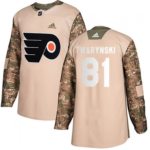 Carsen Twarynski Philadelphia Flyers Men's Adidas Authentic Camo Veterans Day Practice Jersey