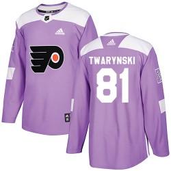Carsen Twarynski Philadelphia Flyers Men's Adidas Authentic Purple Fights Cancer Practice Jersey