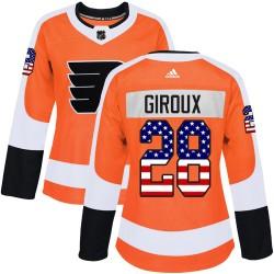 Claude Giroux Philadelphia Flyers Women's Adidas Authentic Orange USA Flag Fashion Jersey