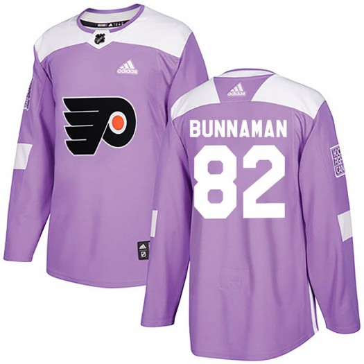 Connor Bunnaman Philadelphia Flyers Men's Adidas Authentic Purple Fights Cancer Practice Jersey