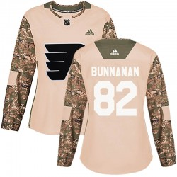 Connor Bunnaman Philadelphia Flyers Women's Adidas Authentic Camo Veterans Day Practice Jersey