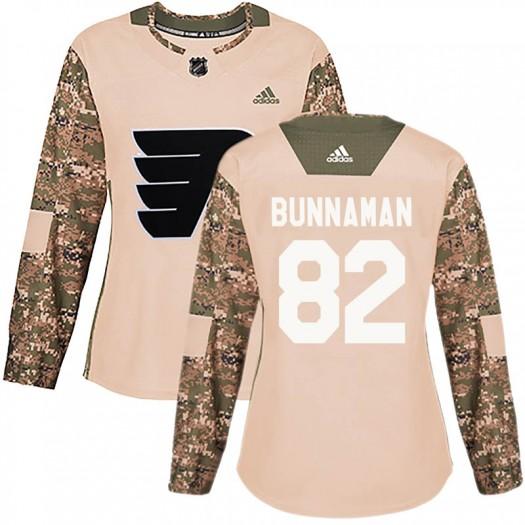 Connor Bunnaman Philadelphia Flyers Women's Adidas Authentic Camo Veterans Day Practice Jersey