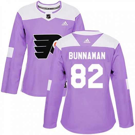 Connor Bunnaman Philadelphia Flyers Women's Adidas Authentic Purple Fights Cancer Practice Jersey