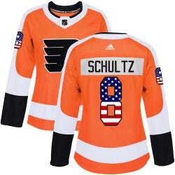 Dave Schultz Philadelphia Flyers Women's Adidas Authentic Orange USA Flag Fashion Jersey