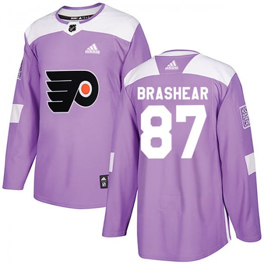 Donald Brashear Philadelphia Flyers Men's Adidas Authentic Purple Fights Cancer Practice Jersey