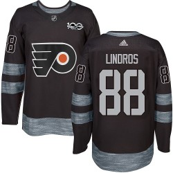Eric Lindros Philadelphia Flyers Men's Adidas Authentic Black 1917-2017 100th Anniversary Jersey