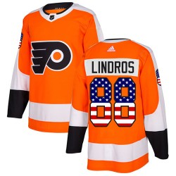 Eric Lindros Philadelphia Flyers Men's Adidas Authentic Orange USA Flag Fashion Jersey