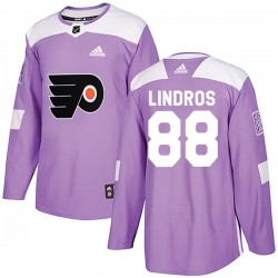 Eric Lindros Philadelphia Flyers Youth Adidas Authentic Purple Fights Cancer Practice Jersey