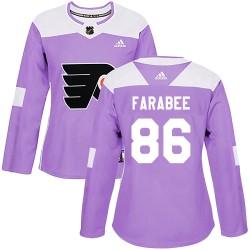 Joel Farabee Philadelphia Flyers Women's Adidas Authentic Purple Fights Cancer Practice Jersey