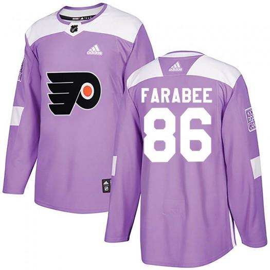 Joel Farabee Philadelphia Flyers Youth Adidas Authentic Purple Fights Cancer Practice Jersey