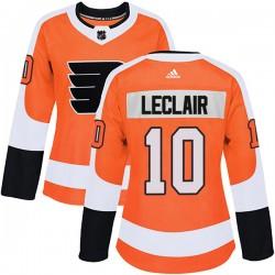 John Leclair Philadelphia Flyers Women's Adidas Authentic Orange Home Jersey