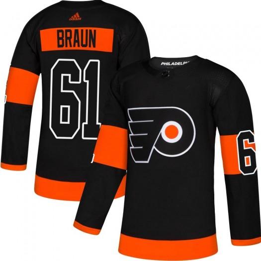 Justin Braun Philadelphia Flyers Men's Adidas Authentic Black Alternate Jersey