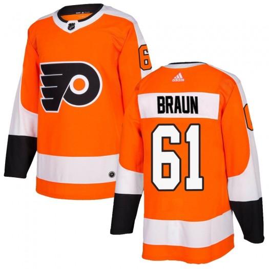 Justin Braun Philadelphia Flyers Men's Adidas Authentic Orange Home Jersey