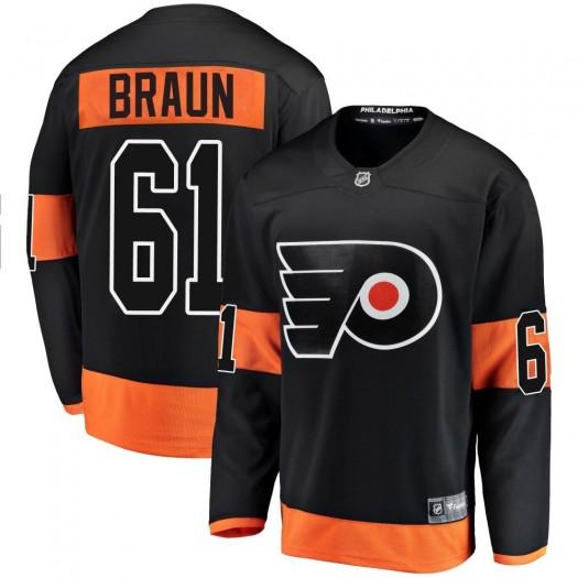 Justin Braun Philadelphia Flyers Men's Fanatics Branded Black Breakaway Alternate Jersey