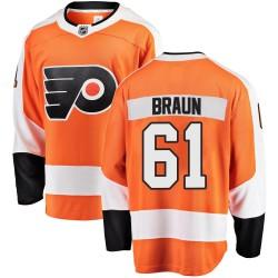 Justin Braun Philadelphia Flyers Men's Fanatics Branded Orange Breakaway Home Jersey