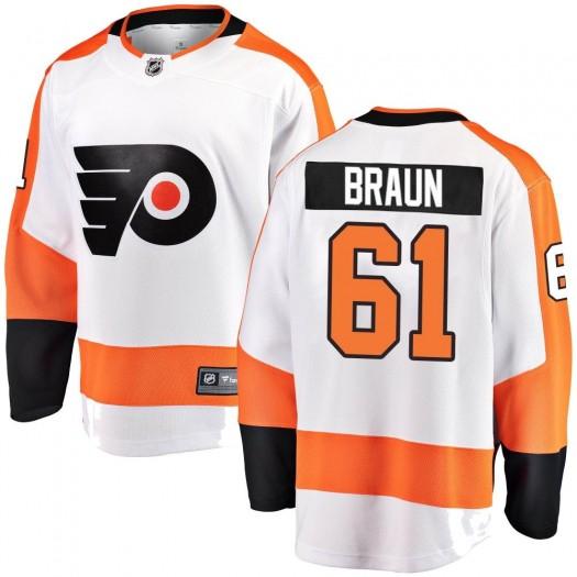 Justin Braun Philadelphia Flyers Men's Fanatics Branded White Breakaway Away Jersey