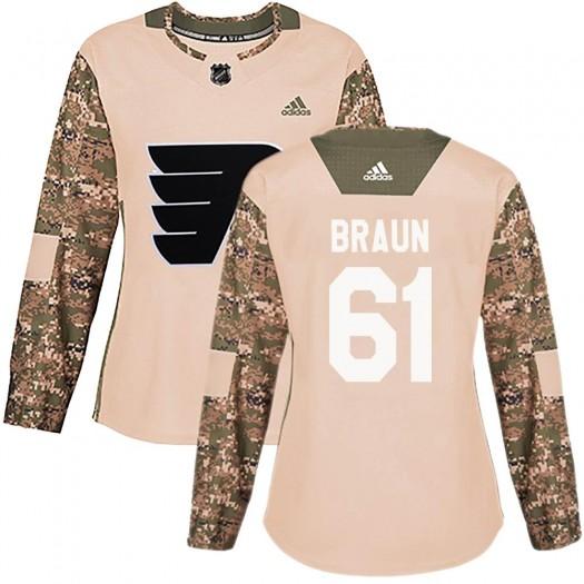Justin Braun Philadelphia Flyers Women's Adidas Authentic Camo Veterans Day Practice Jersey