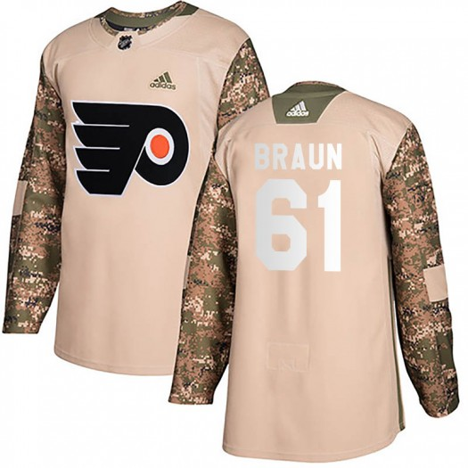Justin Braun Philadelphia Flyers Youth Adidas Authentic Camo Veterans Day Practice Jersey