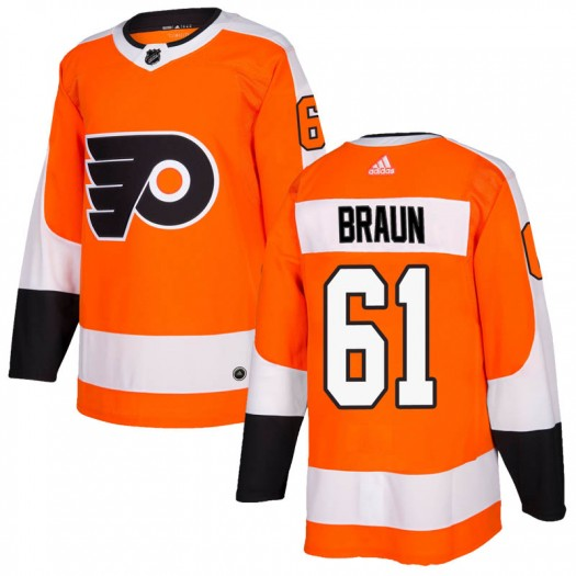 Justin Braun Philadelphia Flyers Youth Adidas Authentic Orange Home Jersey
