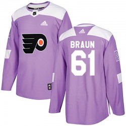 Justin Braun Philadelphia Flyers Youth Adidas Authentic Purple Fights Cancer Practice Jersey