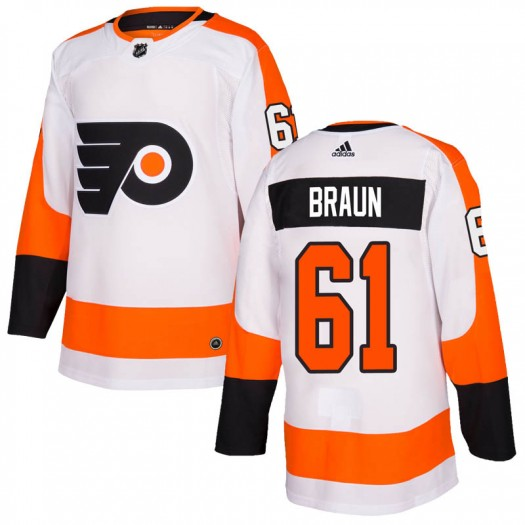 Justin Braun Philadelphia Flyers Youth Adidas Authentic White Jersey