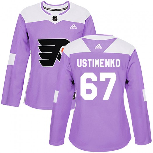Kirill Ustimenko Philadelphia Flyers Women's Adidas Authentic Purple ized Fights Cancer Practice Jersey