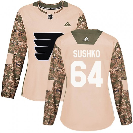 Maksim Sushko Philadelphia Flyers Women's Adidas Authentic Camo Veterans Day Practice Jersey
