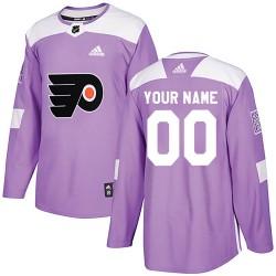 Men's Adidas Philadelphia Flyers Customized Authentic Purple Fights Cancer Practice Jersey