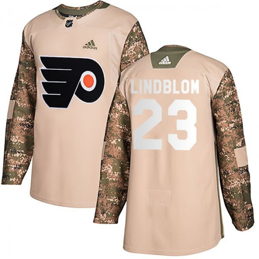 Oskar Lindblom Philadelphia Flyers Men's Adidas Authentic Camo Veterans Day Practice Jersey