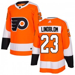 Oskar Lindblom Philadelphia Flyers Men's Adidas Authentic Orange Home Jersey