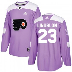 Oskar Lindblom Philadelphia Flyers Men's Adidas Authentic Purple Fights Cancer Practice Jersey