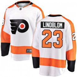 Oskar Lindblom Philadelphia Flyers Men's Fanatics Branded White Breakaway Away Jersey