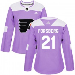 Peter Forsberg Philadelphia Flyers Women's Adidas Authentic Purple Fights Cancer Practice Jersey