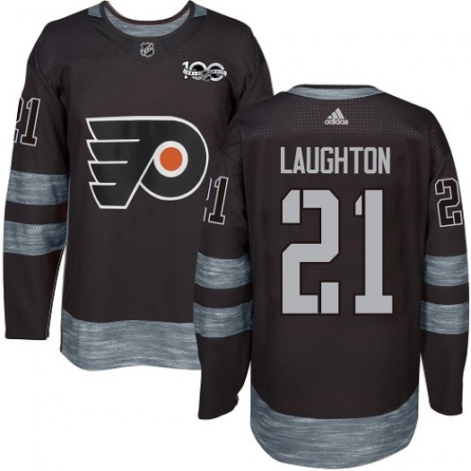 Scott Laughton Philadelphia Flyers Men's Adidas Authentic Black 1917-2017 100th Anniversary Jersey