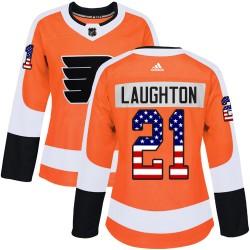 Scott Laughton Philadelphia Flyers Women's Adidas Authentic Orange USA Flag Fashion Jersey