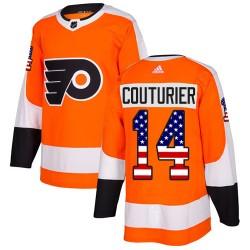 Sean Couturier Philadelphia Flyers Men's Adidas Authentic Orange USA Flag Fashion Jersey
