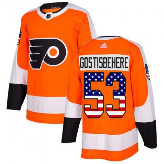 Shayne Gostisbehere Philadelphia Flyers Men's Adidas Authentic Orange USA Flag Fashion Jersey