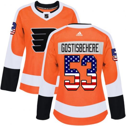 Shayne Gostisbehere Philadelphia Flyers Women's Adidas Authentic Orange USA Flag Fashion Jersey