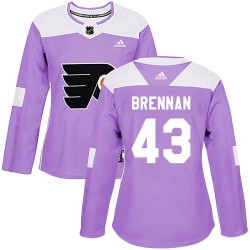 T.J. Brennan Philadelphia Flyers Women's Adidas Authentic Purple Fights Cancer Practice Jersey