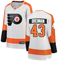 T.J. Brennan Philadelphia Flyers Women's Fanatics Branded White Breakaway Away Jersey